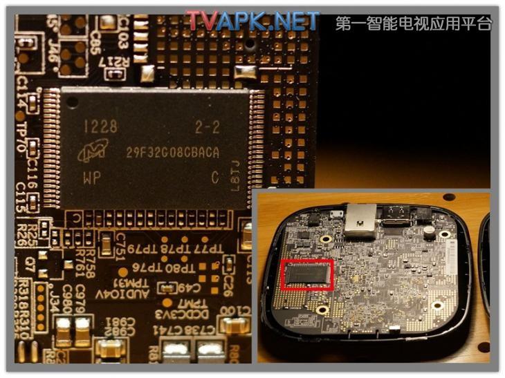 把小米盒子的电路板反过来之后,最大的一块芯片就是镁光的29f32g08